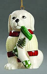 Spode Christmas Tree Ornament Puppy Dog with Christmas Stocking