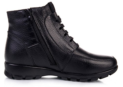Zapatos Deslizante Botines Alineado Trabajo DAFENP Botas Caliente Cuero Botas Anti Otoño Nieve Invierno Lazada Negro3 Mujer Calentar de de xw7p16