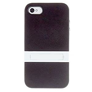SHOUJIKE Solid Color Protective TPU Case with White Stand for iPhone 4/4S (Assorted Colors) , Black