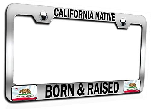 Makoroni - CALIFORNIA NATIVE BORN & RAISED Californian California Ch Steel Auto SUV License Plate Frame, License Tag Holder ()