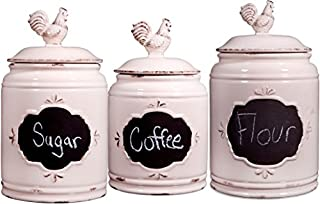 Ceramic Rooster Canisters with Locking Clamps ~ Kitchen Jar Set with Rooster Figure ~ Food Storage Containers (B01MYQ53OS) | Amazon price tracker / tracking, Amazon price history charts, Amazon price watches, Amazon price drop alerts