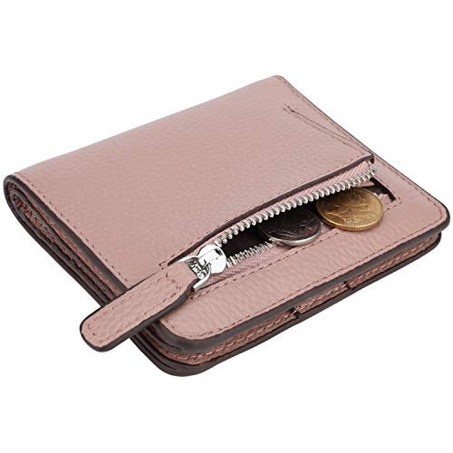 Lavemi RFID Blocking Small Compact Mini Bifold Credit Card Holder Leather Pocket Wallets for Women(Pebbled Dark Pink)