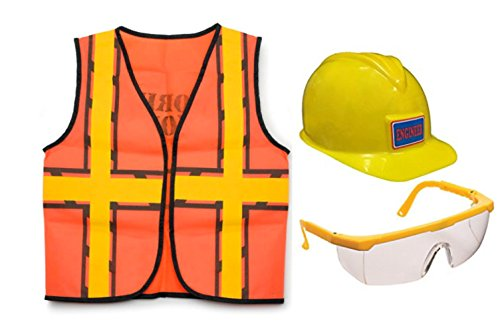 Nikki's Knick Knacks Construction Worker Role Play Dress Up Set- Construction Vest, Helmet, and Safety Glasses