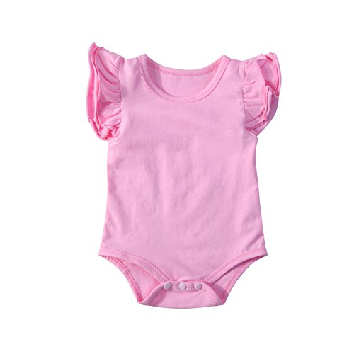Infant Baby Girl Basic Ruffle Short Sleeve Cotton