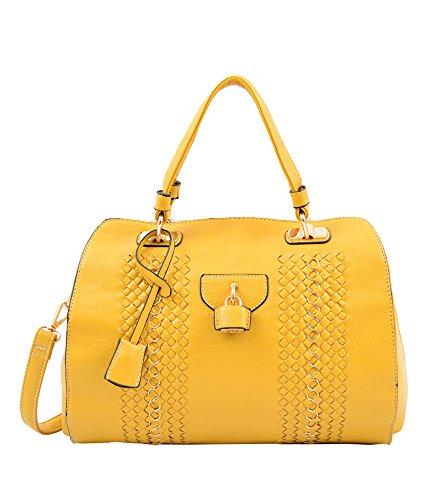 Mellow World Fashion Arachne Barrel Bag, Mustard, One Size
