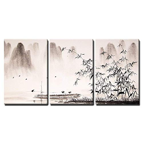 wall26 - 3 Piece Canvas Wall Art - Chinese Landscape Ink Painting - Modern Home Decor Stretched and Framed Ready to Hang - 24