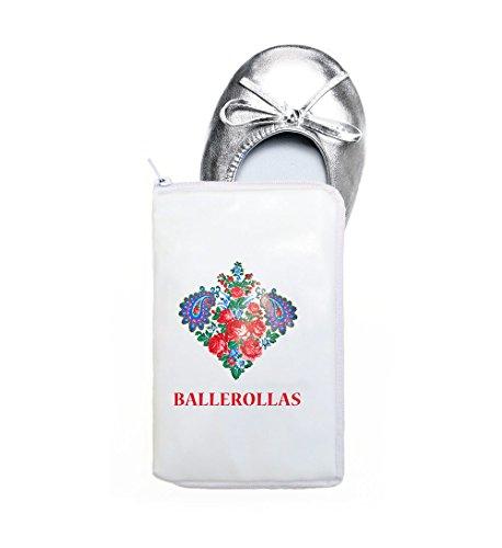 BALLEROLLAS Ballerines pliables à emporter–chaussures d'after party - chaussures de rechange argentées taille 37-38