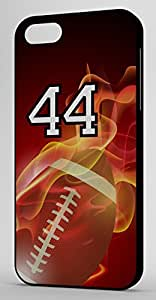 Flaming Football Sports Fan Player Number 44 Black Rubber Decorative iphone 5c Case