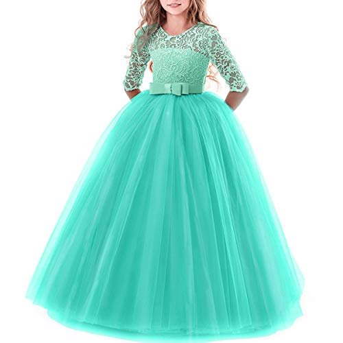 Flower Fancy Girl Long Sleeve Katie Lace Tutu Fairy Princess Pageant Dresses Kids Formal Prom Ball Gown for 6-14 Years Turquoise Green 7-8 - Princess Dress Pageant