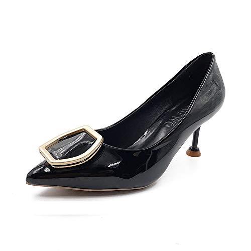 tacco Black metallica Scarpe alto Scarpe Five da Novità Shoesthirty Single Donna sottile sottile donna Shoes con Sharp e MLGSDW con Scarpe fibbia sexy B8AX7B