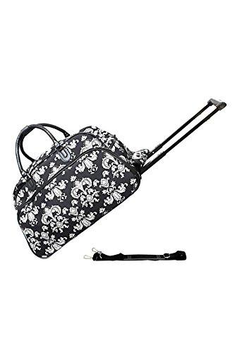 World Traveler Black White Damask Rolling Wheeled Duffle Bag 21-inch (22 Traveler Wheeled)