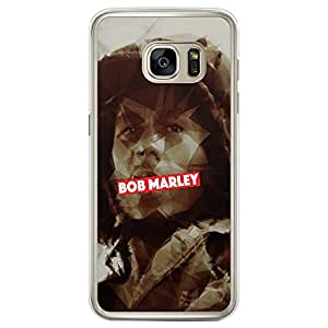Loud Universe Samsung Galaxy S7 Edge Bob Marley Printed Transparent Edge Case - Brown/Silver