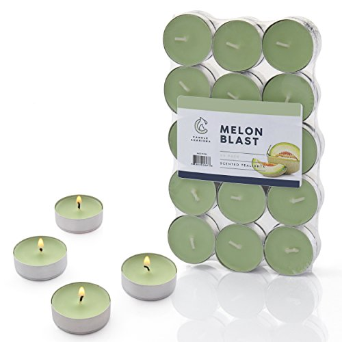 Green Tea Scented Candle - Melon Blast Tealights Fruit Scented Candles - 30 Pack - Made in USA