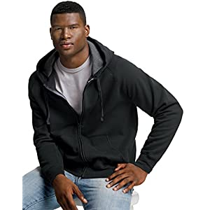 Hanes Mens Nano Premium Lightweight Full Zip Hoodie,Black,X-Large