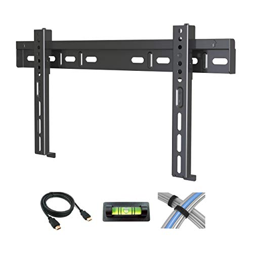 Atlantic Low-Profile Fixed TV Wall Mount – for Flat Screen TVs 17-42 inch, Includes 6 Foot HDMI Cable, Cable Ties and…