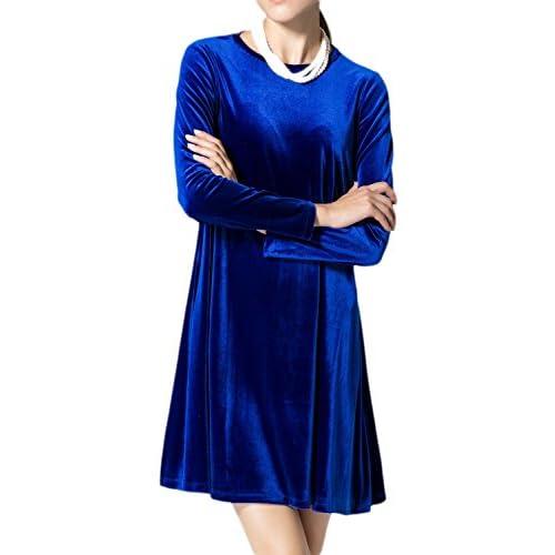 264ccc548cd3 Suelta De Manga Larga Mujer Elegante Vestido Terciopelo Puro Swing MIDI  80%OFF