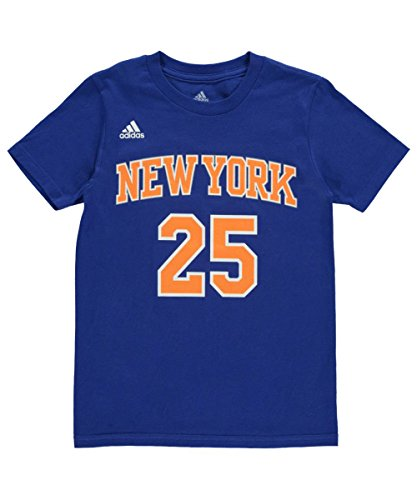 adidas NBA New York Knicks Derrick Rose Boys 8-20 Road Blue Game Time Name & Number T-Shirt