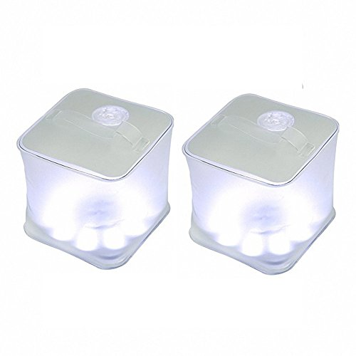 Choreau Inflatable Frosted Cube Solar Survival Emergency Lantern, Waterproof Rechargeable Solar Powered LED Light, Camping Hiking Hunting Fishing Patio Parties Flashlight Lantern (2 Pack)