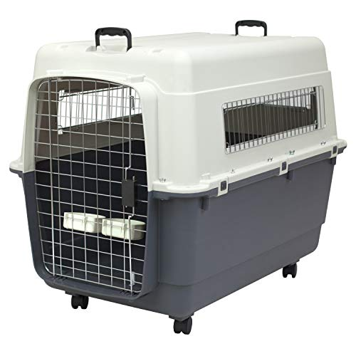 SportPet Designs Plastic Kennels Rolling Plastic Wire Door Travel Dog Crate- XX-Large