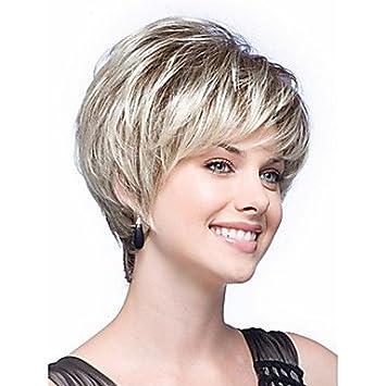 GSP-de color pelucas cortas blancas pelucas de pelo sintético mujeres de la señora ,