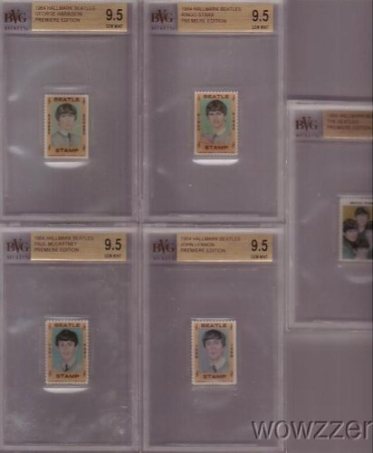 1964 Hallmark BEATLES Complete 5 Piece Stamps Set all Graded BGS 9.5 GEM MINT ! Includes John Lennon, Paul McCartney,George Harrison,Ringo Starr and Beatles Group! Rare Over 50 Years Old ! from Wowzzer