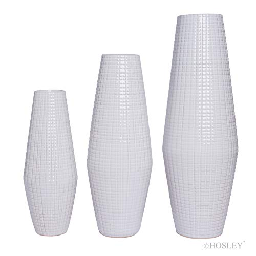 Hosley Set of 3 White Textured Ceramic Vase Ideal Gift for Weddings Party Home Spa Settings Reiki W5