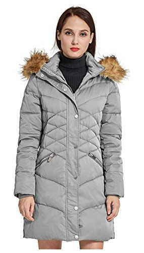 Grey Orolay Down Thickened with Women's Jacket Coat Puffer Hood wqa8O1Tw
