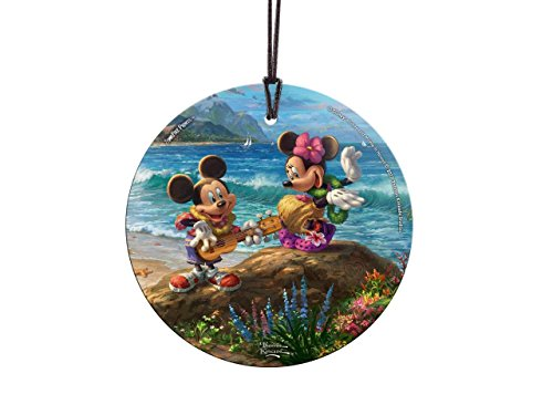 Trend Setters Thomas Kinkade Disney Mickey Minnie Hawaii StarFire Prints Hanging Glass
