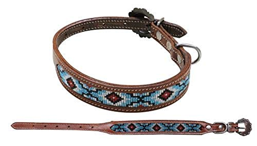 (Showman Couture Turquoise White RED Navajo Beaded Leather Adjustable Dog Collar (Large 18 1/4