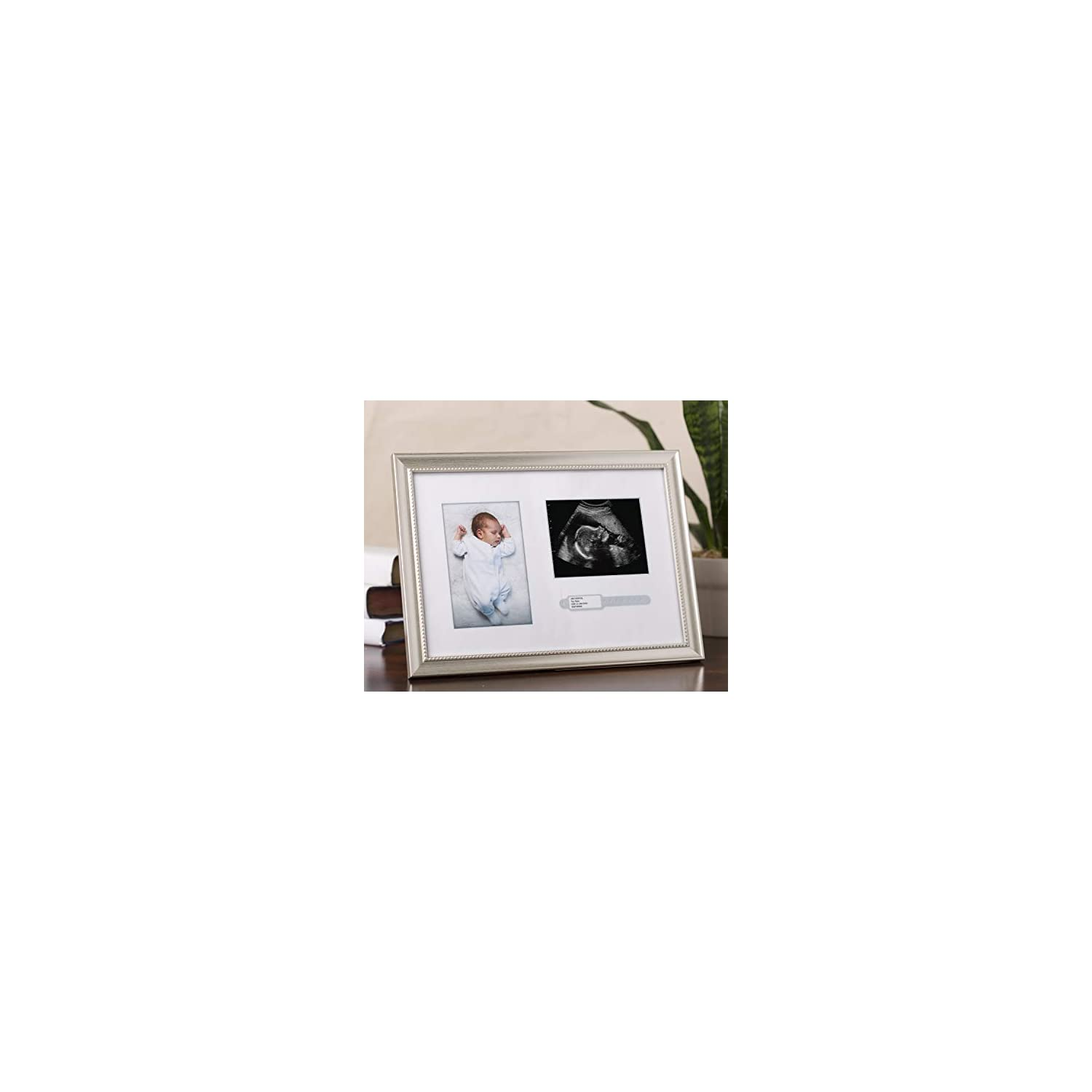 Lil Peach Photo, Bracelet, and Sonogram Frame, Makes Perfect Nursery Décor, Creative Baby Gift, or Addition to Baby Registry, Silver