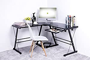 Amazon Com Merax L Shape Computer Desk With Black Glass