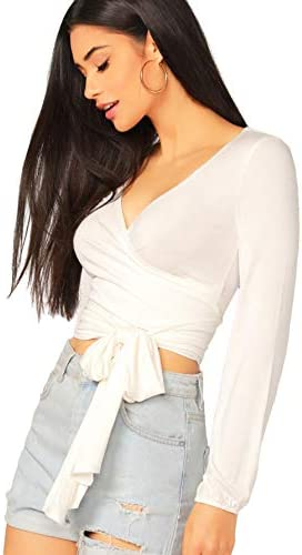 SheIn Women's Deep V Neck Knot Front Long Sleeve Wrap Crop Top Tee T-Shirt