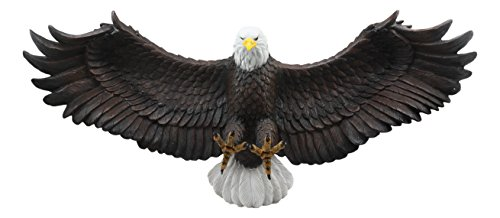 Ebros Freedom Reigns Large Flying Bald Eagle Wall Decor Statue 2 Feet Long Wings of Glory Bald Eagle Wall Mounted Sculpture Plaque American Patriotic Decor Wall Centerpiece ()