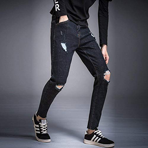 Fit Denim Slim Jeans Negro Ropa Stretch Fit Straight Ripped Men Jeans Pants Pants Destroyed Jeans R4qqIExwO