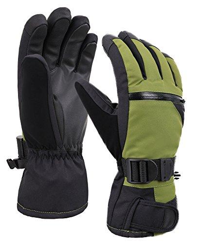 D Diana Dickson Mens Touchscreen Waterproof Winter Snow Gloves w/Hidden Zipper Pocket