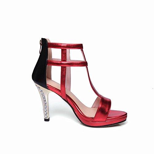 Mee Shoes Women's Sexy Zip High Heel Sandals Red IES333