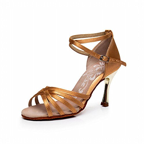 de Zapatos Modern de Oscuro 5CM 7 Tobillo Sandalias Samba BYLE Cuero Onecolor Latino de Jazz Baile Talón de Fondo Blando Celosía Zapatos de Baile Chapado xIOwgU