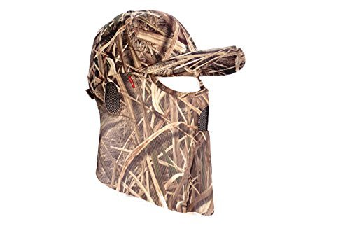 QuikCamo Mossy Oak Shadow Grass Blades Camouflage Cap, Hat, with Hunting Face Mask Combination (Duck's Unlimited Official Waterfowl Pattern) (60cm)