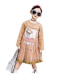 Buy-Box Girls Skirt Shirt Suit Two-Pieces Sling Yarn Long Hem Skirt Uniform