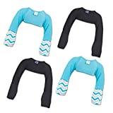 ScratchMeNot Flip Mitten Sleeves | Organic Bamboo Stay On Scratch Mitts - 12 Month Teal Chevron + Black 4-Pack Bundle