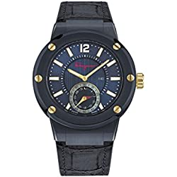 Salvatore Ferragamo Men's 'F-80' Swiss Quartz Stainless Steel and Leather Casual Watch, Color:Blue (Model: FAZ010016)