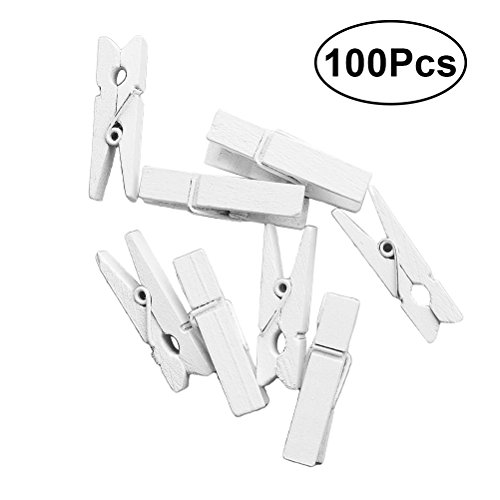 VORCOOL 100Pcs Mini Wooden Pegs Photo Paper Craft Clips Laundry Clothespins White