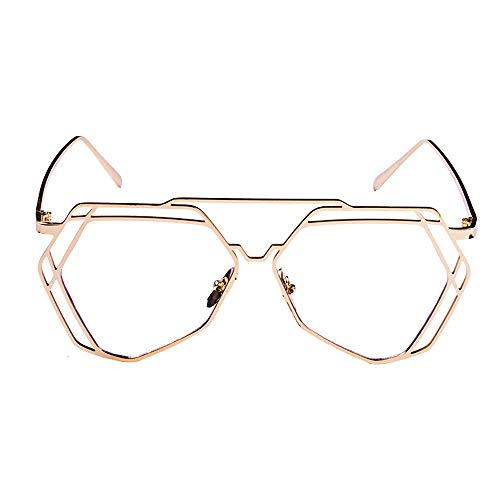 - Pinleg Sunglasses Twin-Beams Geometry Design Women Metal Frame Mirror Cat Eye Glasses Unisex Polarized Sunglasses
