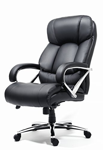 Office Factor New Big and Tall Black Executive Office Chair Bonded Leather Extra Padded Rated to 500 Pounds Padded Seat With Memory Foam Metal Reinforced Base