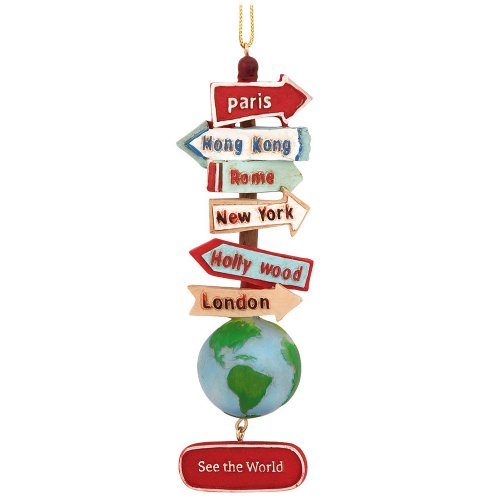 Kurt Adler Resin Stacked World Signs With Globe (Unique Christmas Ornament)