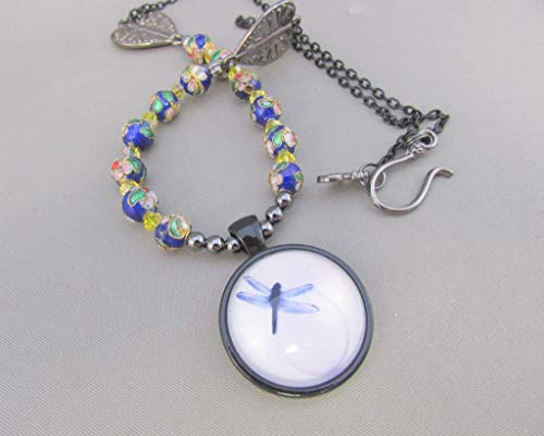 Dragonfly Glass Dome Pendant and Flower Cloisonné Metal Bead Necklace, blue necklace