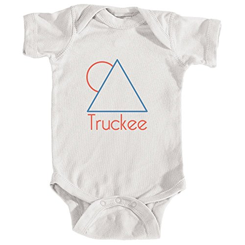 Truckee, California Minimal Mountain Sun in Red/Blue - Infant Baby Onesie/Bodysuit (18MOS, White)