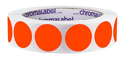 (ChromaLabel 1 inch Removable Color-Code Dot Labels | 1,000/Roll (Fluorescent Red-Orange))