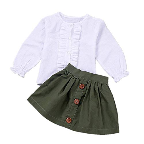 Toddler Boutique Clothing (Little Girls 2 Piece Clothes Set Kids Fall School Oufits Ruffles Clean White Shirt Buttons A-line Skirt Set (Army Green Skirts + White Blouse, 4T for 4 Years)