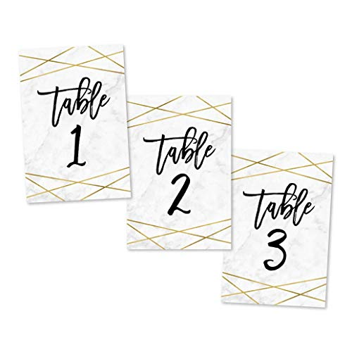 1-25 Marble Geometric Table Number Double Sided Signs for Wedding Reception, Restaurant, Birthday Party Event, Calligraphy Printed Numbered Card Centerpiece Decoration Setting Reusable Stand 4x6 Size ()